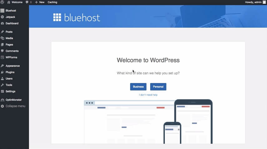 bluehost_wordpress_dashboard